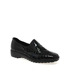 Rieker - Black patent 'doran' patent croc shoes