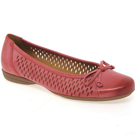 Gabor - +Bota+ Ladies Bow Trim Perforated Leather Ballet Pumps