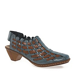 Rieker - Blue 'Sina' Leather Woven Heeled Shoes