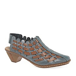 Rieker - Blue 'Sina' Leather Woven Heeled Shoes