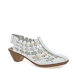 Rieker - White 'Sina' Leather Woven Heeled Shoes