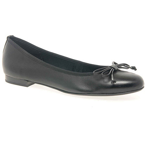 Marco Tozzi - Black 'Ballet' Women'S Leather Bow Trim Ballet Pumps
