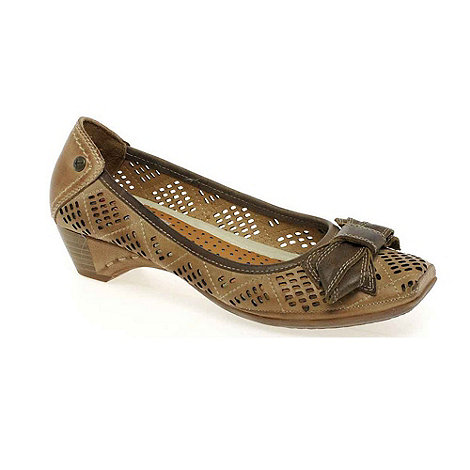 Pikolinos - Taupe 'Gina' Bow Trim Punched Court Shoes