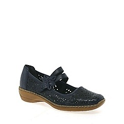 Rieker - Navy 'Date' flower trim mary jane shoes