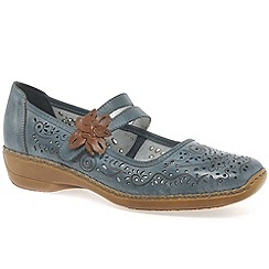 Rieker - Light blue 'Date' flower trim mary jane shoes