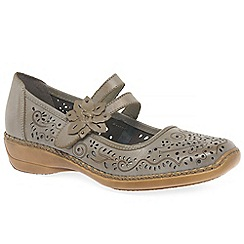 Rieker - Beige 'Date' flower trim mary jane shoes