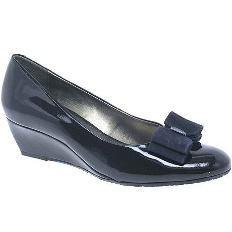 Van Dal - Navy Lille Leather Wedge Wide Fit Court Shoe