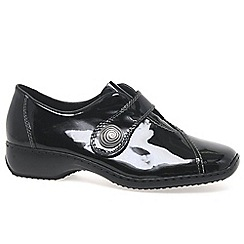 Rieker - Black patent 'Swanky' Ladies Velcro Fastening Leather Shoes