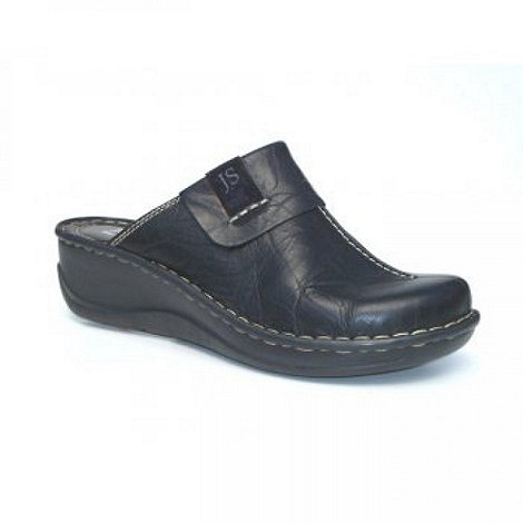 Josef Seibel - Black Erika Low Wedge Leather Clogs
