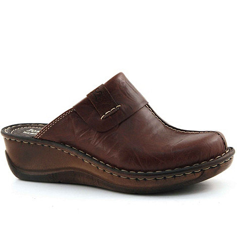 Josef Seibel - Brown Erika Low Wedge Leather Clogs