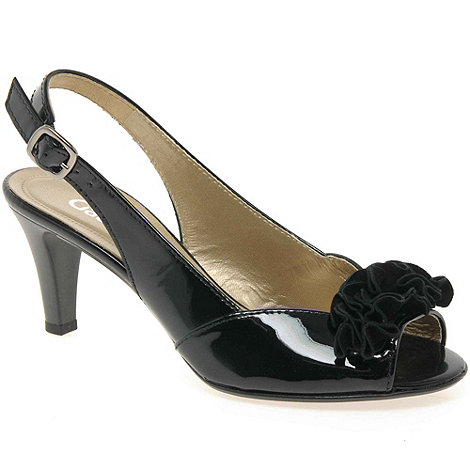 Gabor - Black patent +dazzling+ bow trim sling back sandals
