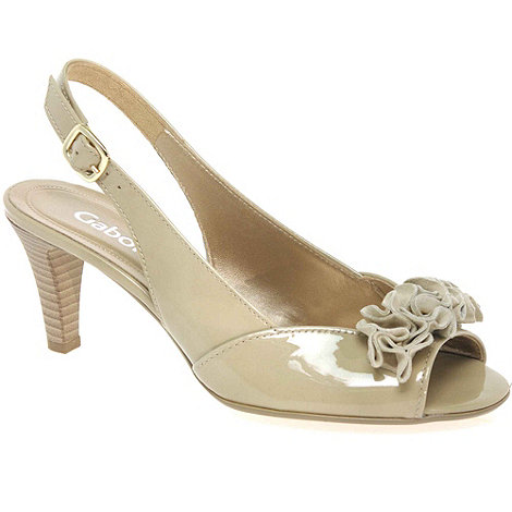 Gabor - Natural +dazzling+ bow trim sling back sandals