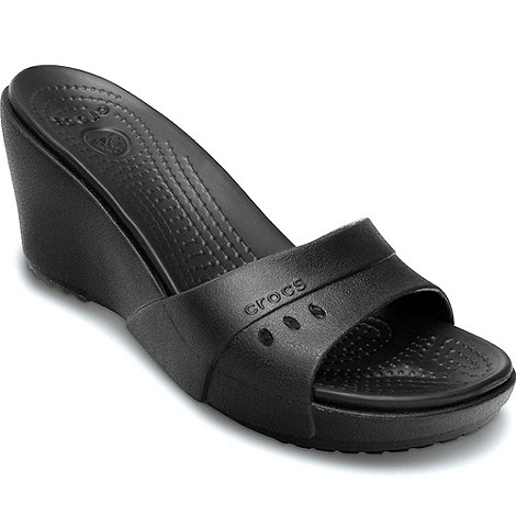 Crocs - Black +kadee+ wedge womens wedge heeled mules