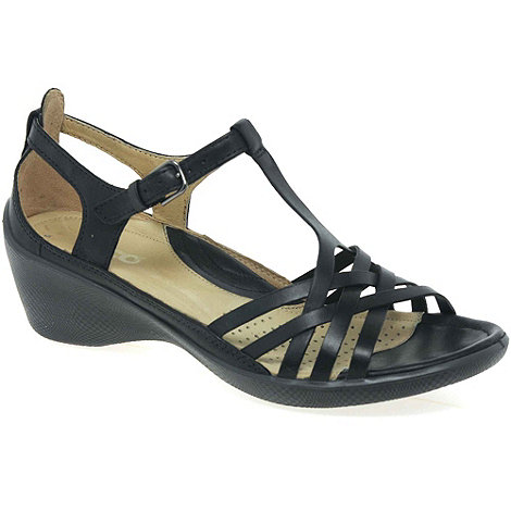 Ecco - Black +Sense+ womens casual buckle fastening sandals
