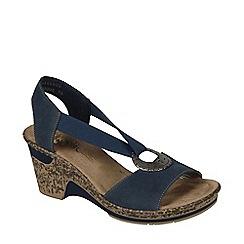 Rieker - Navy 'Blush' Ring Trim Wedge Sandals