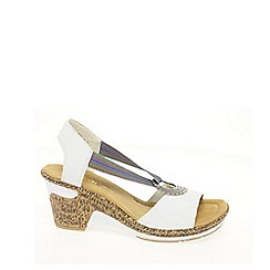 Rieker - White 'Blush' Ring Trim Wedge Sandals