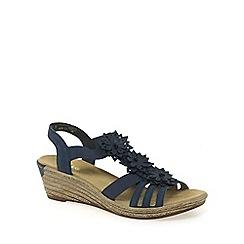 Rieker - Blue 'Flute' womens wedged heel sandals
