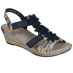 Rieker - Navy 'Flute' womens wedged heel sandals