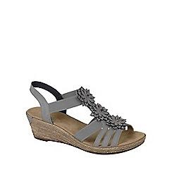 Rieker - Grey 'flute' wedged heel sandals
