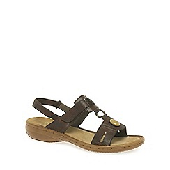 Rieker - Brown 'Regina' leather jewel trim sandals