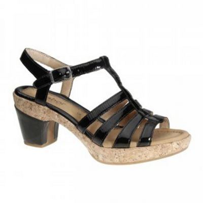 Black patent Impression Strappy T Bar Sandals