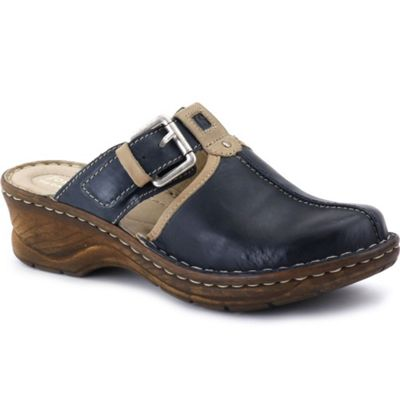Blue Catalonia buckle trim womens clogs