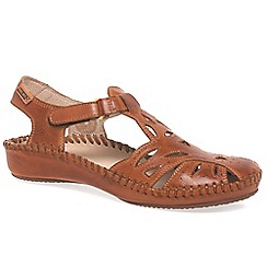 Pikolinos - Brown 'Vintage' Leather Buckle Trim Sandals