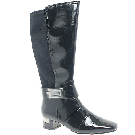 Marco Tozzi - Black Patent 'Darby Ii' Womens Patent Zip Up Long Boots
