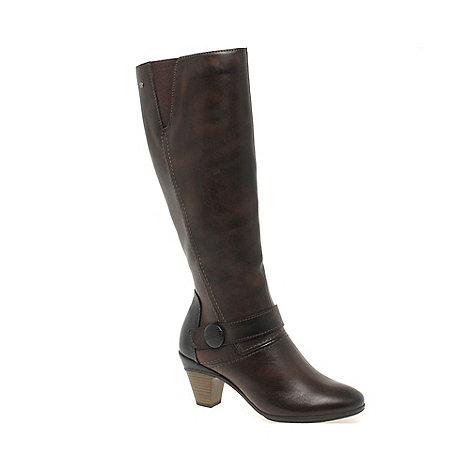 Pikolinos - Brown +Print+ Womens Leather Long Boots