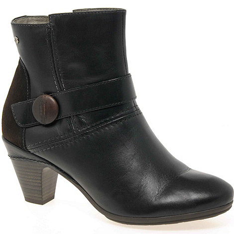 Pikolinos - Black +Present+ Womens Leather Button Detail Ankle Boots