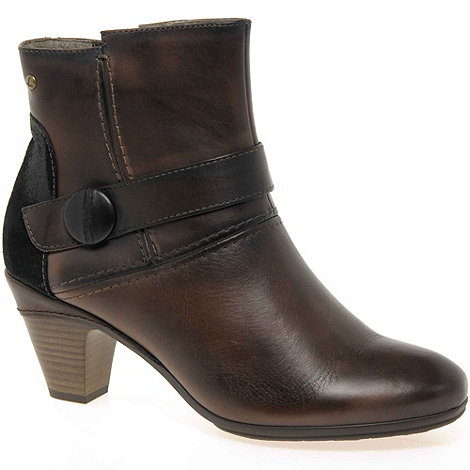 Pikolinos - Brown +Present+ Womens Leather Button Detail Ankle Boots