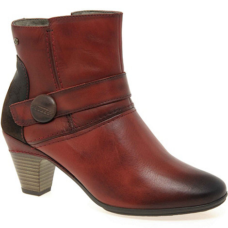 Pikolinos - Red +Present+ Womens Leather Button Detail Ankle Boots