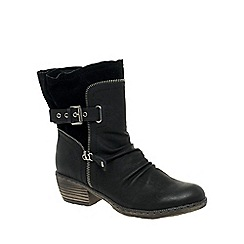 Rieker - Black 'Berry' Buckle Strap Tall Ankle Boots