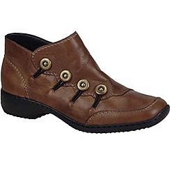 Rieker - Tan 'Dawn' low button trim ankle boots
