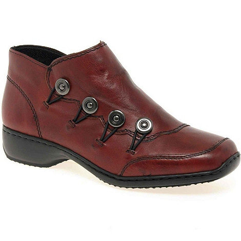 Rieker - Maroon 'Dawn' low button trim ankle boots