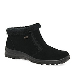 Rieker - Black 'Ella' Womens Fur Trimmed Warm Lined Ankle Boots