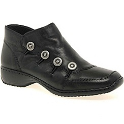 Rieker - Black 'Dawn' Womens Leather Ankle Boots