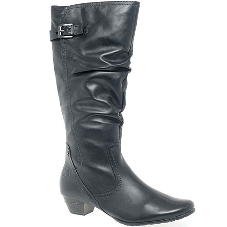 Marco Tozzi - Black +Jones+ Rouched Leather Long Boots