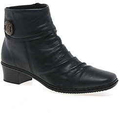 Rieker - Black 'Kendra' ladies leather button trim ankle boots