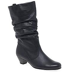 Gabor - Dark blue leather 'Rachel' mid heeled calf length boots