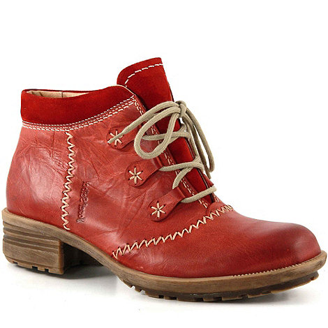 Josef Seibel - Red Paige Block Heel Lace Up Leather Ankle Boots