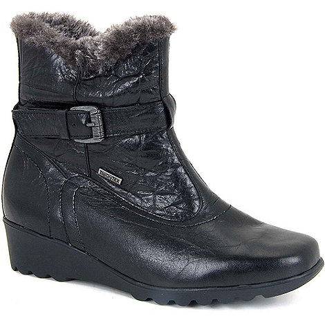 Josef Seibel - Black Bliss Zipped Low Wedge Black Ankle Boots