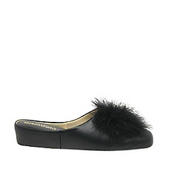 Relax - Black 'Pom-Pom' Leather Slippers