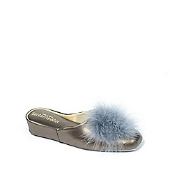 Relax - Metallic 'Pom-Pom' Leather Slippers