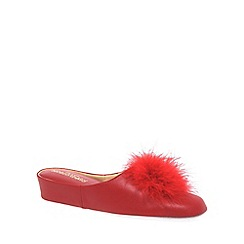 Relax - Red 'Pom Pom II' Womens Leather Slippers