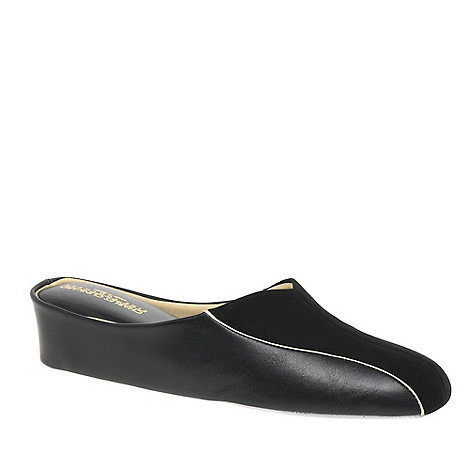 Relax - Black +Martha+ Leather and Suede Slippers
