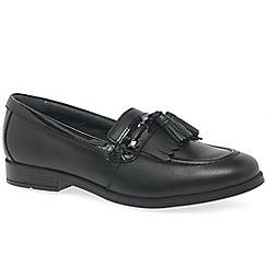 Start-rite - Black leather 'Loafer Snr' girls tassle loafers