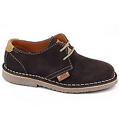 XTI - Brown 'Stitch' boys suede lace up casual shoes