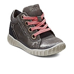 Ecco - Silver 'Mimic Lace' girls lace up boots