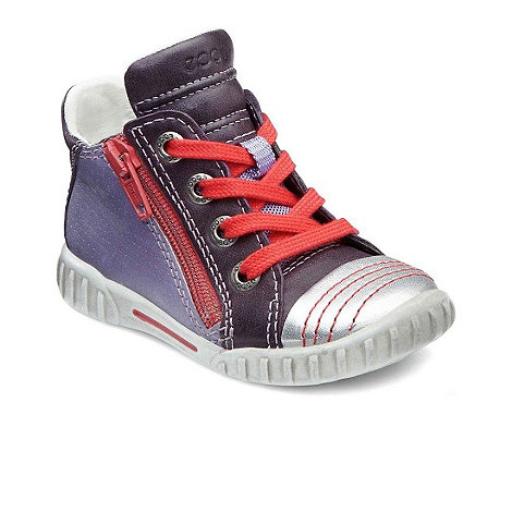 Ecco - Purple +Mimic Zip+ girls high top trainers